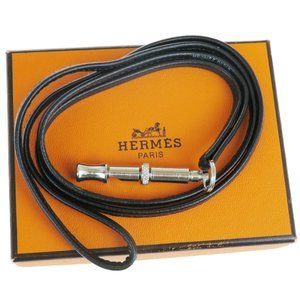 HERMES Logos Strap Dog Whistle Leather Silver Plat